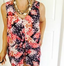 TOKITO WOMENS TOP SLEEVELESS FLORAL PRINT LINED WORK PARTY SZ 12