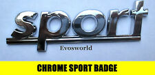 CHROME SPORT BADGE SILVER 3D EMBLEM STICKER DECAL VW POLO LUPO GOLF PLUS GTI TDI