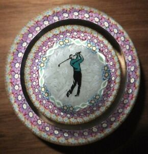 Perthshire Paperweight Millefiori Golfer Millefiori on Upset Muslin Ground