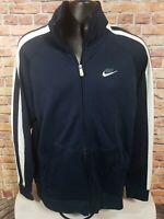 Vintage Nike Air Track Warmup Jacket Coat Mens Large Blue White Stripe Full Zip