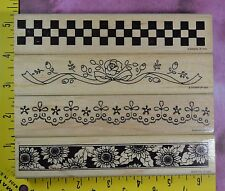 STAMPIN' UP! 1994 BORDERS sunflowers + checkers RARE HTF 4 rubber stamps #2846