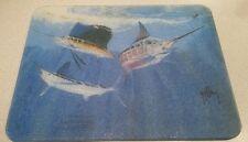 Guy Harvey sail fish Marlin ocean scene tempered glass cutting board