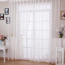 Flocking Sheer Voile Window Panel Curtain Window Door Drape White 100*280cm