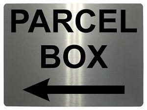 982 PARCEL BOX Arrow Left Metal Aluminium Plaque Sign Door House Office Letters