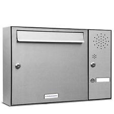 1er Premium Edelstahl Briefkasten Anlage mit Klingel 1 Fach Postkasten Wand
