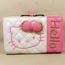 HelloKitty Hasp  Wallet Purse 2017  New Cute Pu Bow White Middle  Size
