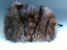 New listing Vintage Mahogany Mink Fur Muff Purse Hand Warmer with Zipper Pocket Satin Backed