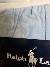 Nip Vtg Ralph Lauren Avery Slate Blue Cotton Damask Twin Dust Ruffle Bed Skirt