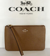 New Coach F57465 Large Wristlet In Crossgrain Leather Saddle NWT
