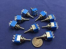 10 Pieces Blue (On) Off (On) Momentary Mini Toggle Switch 1/4 3A 250V 6A 125V C8