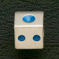 European Stainless Steel Loose Beads Blue Enamel Dice Fit Charm Bracelets Gift