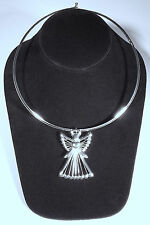 Silver-plated clasping choker necklace wire angel slide pendant/brooch