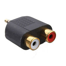 Top Gold Plated stereo Audio male Plug to 2 RCA female jack Y 3.5mm Adapter