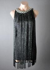 Ombre Fringe 20s Flapper Metallic Great Gatsby Jazz Theme Party Dress Size S