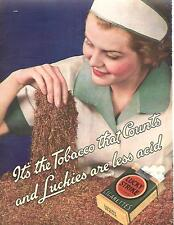 1936 IT'S THE TOBACCO THAT COUNTS LUCKY STRIKE CIGARETTES AD