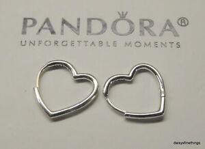 NEW/TAGS AUTHENTIC PANDORA  EARRINGS SMALL ASYMMETRIC HEARTS OF LOVE #298307