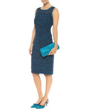 New Jacques Vert dress 16 Chiffon Navy Teal Green shutter Spotted Polka rrp £169