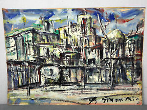 signiert A. Simon Paris Ölgemälde antik Stadtansicht Häuser Abstrakt Frankreich