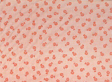 White / Apricot Checked Floral Polycotton Fabric