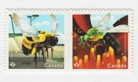 BEES of Canada = HONEYBEE = DIE CUT Pair from Booklet MNH Canada 2018