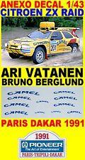 ANEXO DECAL 1/43 CITROEN ZX RAID ARI VATANEN PARIS DAKAR 1991 (08)