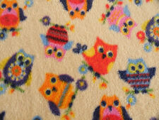 CHILD BABY OWLS BLANKET FLEECE Soft Warm bed travelling 95x70cm washable