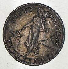 SILVER - WORLD Coin - 1945 Philippines 50 Centavos - World Silver Coin *497