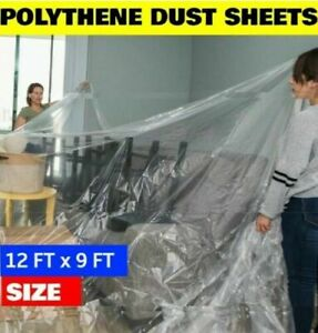 2pc Strong Large Polythene Dust Sheet Decorating Painting Cover Waterproof 9x12