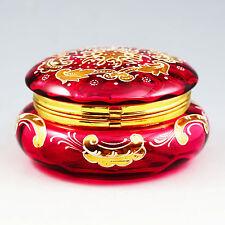 ANTIQUE BOHEMIAN MOSER CRANBERRY ENAMELED GLASS TRINKET BOX, HINGED LID, CASKET