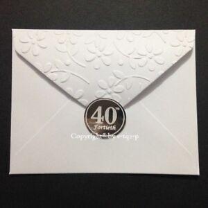 FOIL Silver 40th FORTIETH Envelope Seal Anniversary Birthday Invitation ROUND