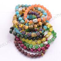 Wholesale Natural Gemstone Round Beads Buddha  Stretchy Bracelets 8MM