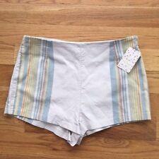 Free People Newman Stripe Cotton Blend Shorts Ivory Combo Sz 12 $78.00 NWT