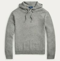 Polo Ralph Lauren Mens Grey Heather Washable Cashmere Hooded Hoodie Sweater NWT