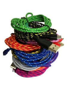 USB Braided Cable Sync Charger Data for Samsung Galaxy S6 edge HTC Nokia LG Lot