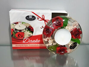 Present Tealight Holder Thank You Made of Glass Dreamlight Rose Red Deco Candle