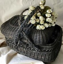 Fab French Vintage Wicker Creel Fishing Basket Display Storage Film Prop Damage