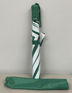 """NEW Compact Automatic Open Rainkist Green/White Nylon Umbrella 43"""" W/Cover"""