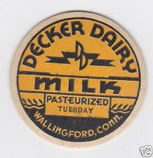 MILK BOTTLE CAP. DECKER DAIRY. WALLINGFORD, CT.