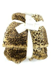 "NEW Pottery Barn Leopard Faux Fur Throw 50"" x 60"" Blanket"
