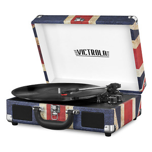 Bluetooth Suitcase Record Player w 3 Speed Turntable British UK Flag Red Blue