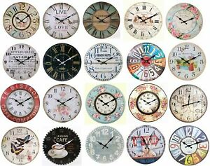 Large Vintage Rustic Wall Clocks Shabby Chic Kitchen Home French Farmhouse Beach