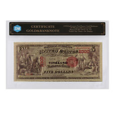 American Colorful Gold Banknote 1875 Year 20 Dollar Uncurrency Note with COA