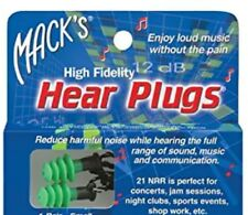 Macks Green high fidelity hear plugs, hearplugs musicians, music concert jamming