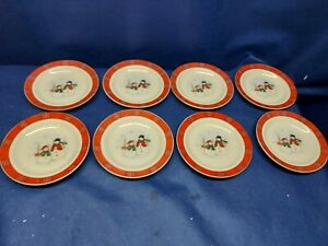 Vintage Royal Seasons Stoneware Set/8 Bread/Salad Plates Snowmen W/ Red Band