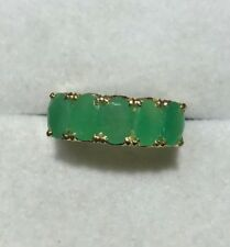 14k Solid Yellow Gold Band Ring With Natural Oval Emerald 2.55CT 3.20 GM
