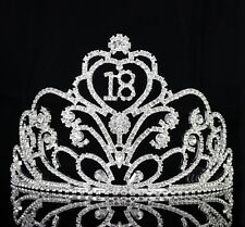 Sweet 18 Eighteen Birthday Party Crystal Rhinestone Tiara Crown w Hair Comb T53