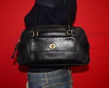 Vintage COACH Black Medium Leather Satchel Tote Shoulder Doctor Purse Bag 9713