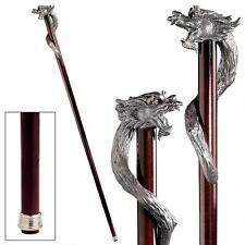 Solid Pewter Polished Hardwood Dragon Cane Gothic Beast Walking Stick NEW