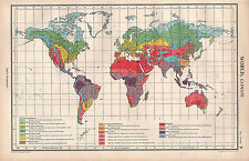 1952 MAP ~ WORLD CLIMATE ~ SUN-POLAR MARITIME HUMID-TEMPERATURE DESERT TROPICAL
