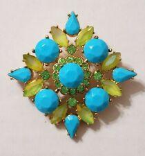 Joan Rivers Turquoise Blue & Green Crystal Rhinestone Maltese Brooch Pin Signed